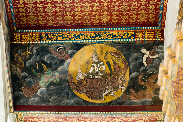 Painting of the Moon God on the Lower Beam of the Roof, Phra Ubosot, Wat Pho (Wat Phra Chetuphon)