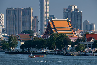 Wat Kalayanamitr & Chao Phraya River view from 342 Bar, Baan Wanglung Riverside