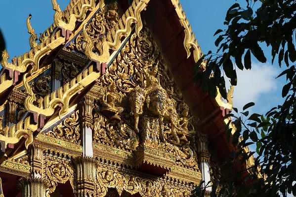 God Indra on the Three-Headed Erawan Elephant,  Phra Ubosot, Wat Ratchaburana