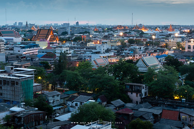 Cityscape of Bangkok, view from Phukhao Thong, Wat Saket