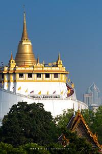 Bangkok view from 4PM Rooftop Bar, in this scene: Phukhao Thong, Wat Saket