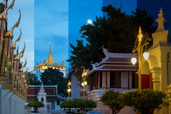 Phukhao Thong, Wat Saket view from Wat Ratchanatdaram