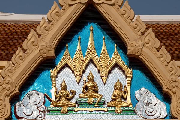 Three Deities on the West Pediment of Phra Ubosot, Wat Trimitr