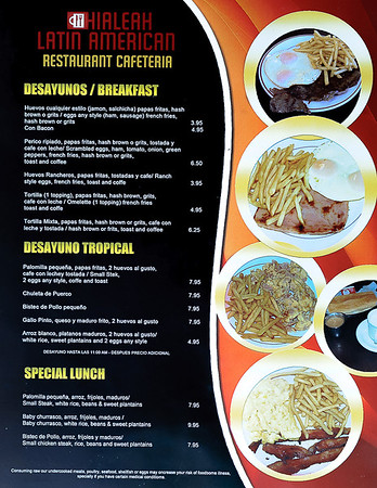 Menu page 2 for the Hialeah Latin American restaurant  in Hialeah Fl