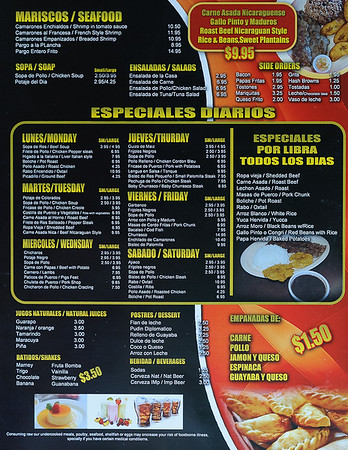 Menu page 4 for the Hialeah Latin American restaurant  in Hialeah Fl