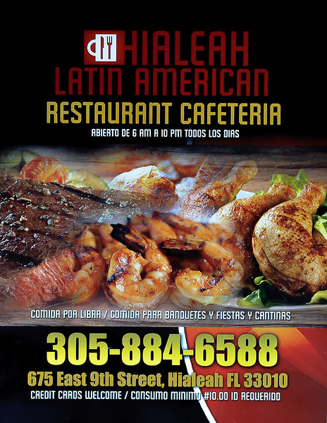 Menu page 1 for the Hialeah Latin American restaurant  in Hialeah Fl