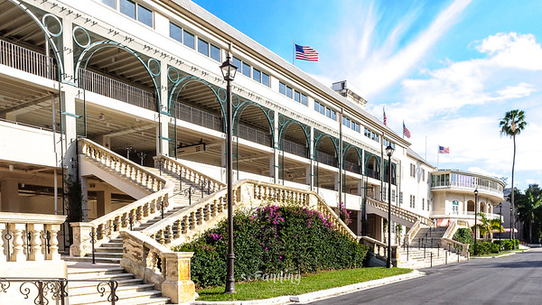 Exterior views of the main Grandstand and surrounding gardens of the Hialeah Park Racetrack & Casino in Hialeah Fl.