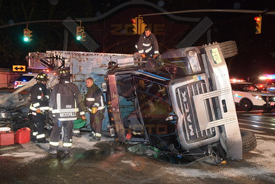 Hicksville F.D. MVA w/ Overturned Dump Truck Old Country Rd. and Charlotte Ave. 4/27/20
