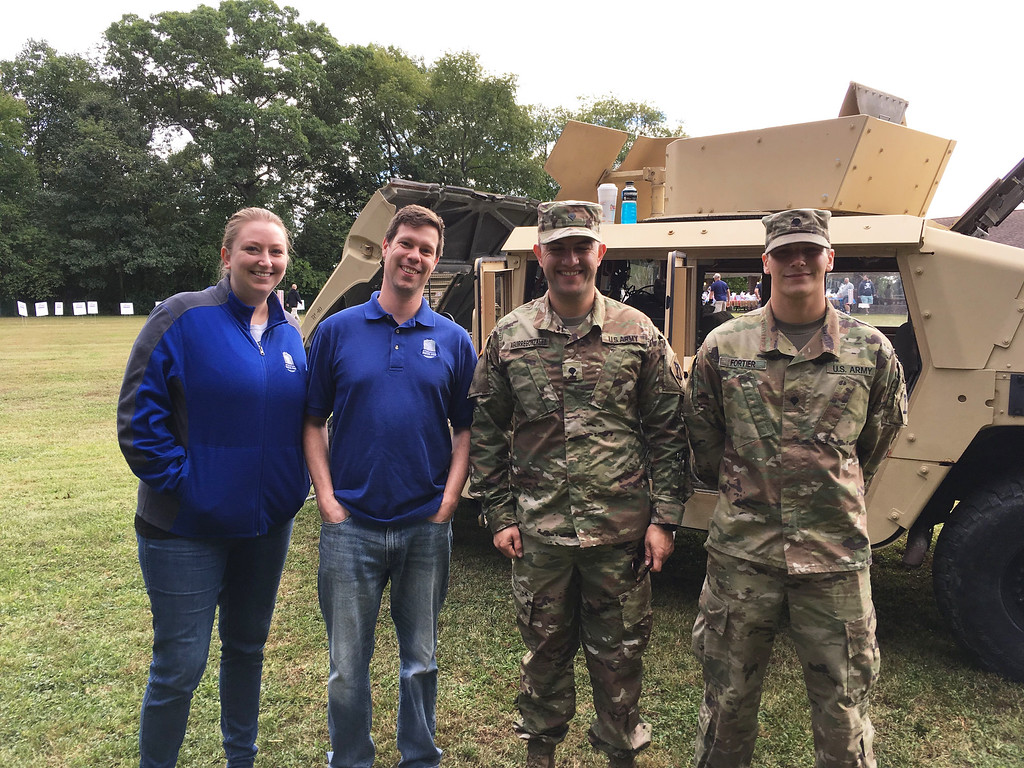 . From left, Lauren Burbridge of Amherst, N.H.., Joe Prince of Chelmsford, Army Mechanical Spc. Army Diego Aguirre and Military Police Officer Brian Fortier