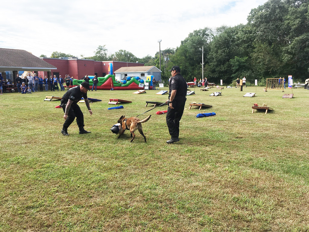 . K-9 Officer John Pimentel and Lt. Mike Kelly show what police dogs can do.