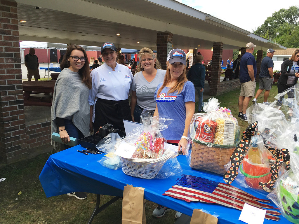 . From left, Janice Carroll of North Reading, chef Michelle Hyder of Nashua, the Greater Lowell Community Foundation�s Jannine Nocco of Tyngsboro and event planner Leslie Cregg-Hyder of Pelham