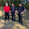 From left, Mike Graham of Dracut, and K-9 Officers Mike Seamans and John Pimental
