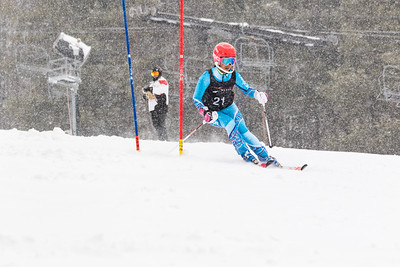 Kaitlyn Riddlemoser Bib No. 21 (WPRC) in the DCWST Taylor Made Vacation & Sales SL Race U8-U19 at Seven Springs