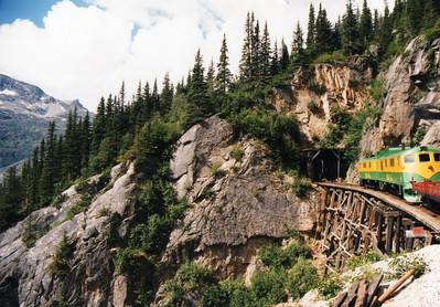 On board the White Pass Scenic Railway trip, Skagway, Alaska