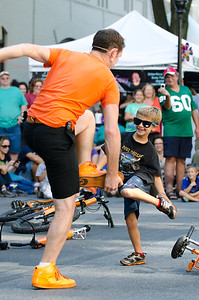 Busker Wacky Chad, with his assistant of the moment, entertained the Musikfest crowd on Main Street