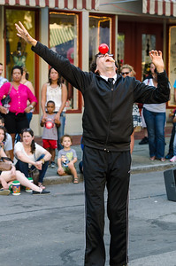 Jonathan Burns, Flexible Comedian, certainly lived up to his title while performing on Main Street at Musikfest in Bethlehem, PA