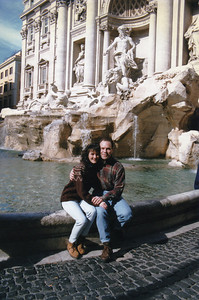 Newlyweds at the Trevi Fountain