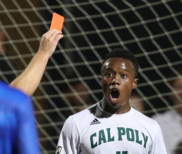 #OhNo - Jared Pressley is shown a red card on Sunday night. Cal Poly Men's Soccer bested UCSB in the Blue-Green Rivalry game in a non-conference match at Alex G. Spanos Stadium 9/30/18  Photo by Owen Main