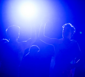 Kind of a fun shot from the #LightsOut intro at MCP tonight. #High5 #Introduction #Pregame #Backlit #Backlight #Silhouette