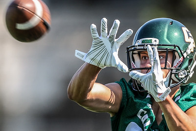 Eyes on the prize at the second day of 2018 Cal Poly Football camp.   Photo by Owen Main