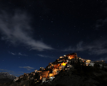 Nighttime shot of Thiksey Monastery in Ladakh, India.