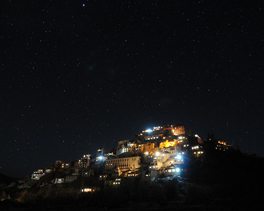Thiksey monastery at night.