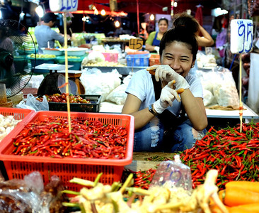Khlong Toei Market in Bangkok, Thailand.  Where all the restaurants go to get their food.