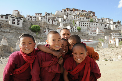 Young monks in front of Thiksey Monastery Ladakh