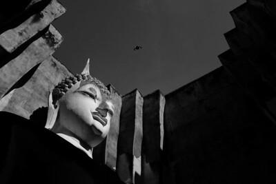 Buddha statue of Wat (temple) Si Chum in Sukhothai, Thailand.