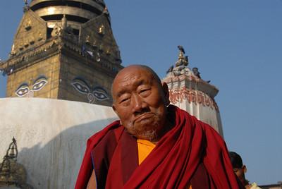 Monk at Swayumbhu Stupa (aka Monkey Temple) in Kathmandu