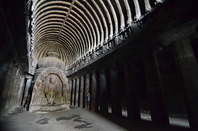 Large cave temple (carved into a mountain about 1700 years ago) in Ajanta, India.