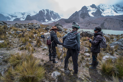 The team of biologists investigating the Andean frogs plan for the day and discuss options.