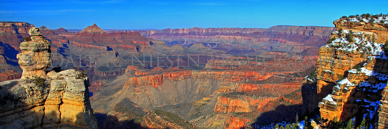 "Taken at the ""Duck on a Rock"" formation scenic turn out South Rim of Grand Canyon National Park.  Note: Special steps may need to be taken when ordering a panoramic image please review the panoramic print sizes for cropping.  However the 10 x 30 and 12 x 36 appear to be perfect fits for the above image without cropping. HDR"