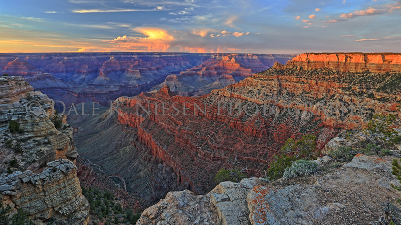 The Grand Canyon and storm clouds over the north rim.