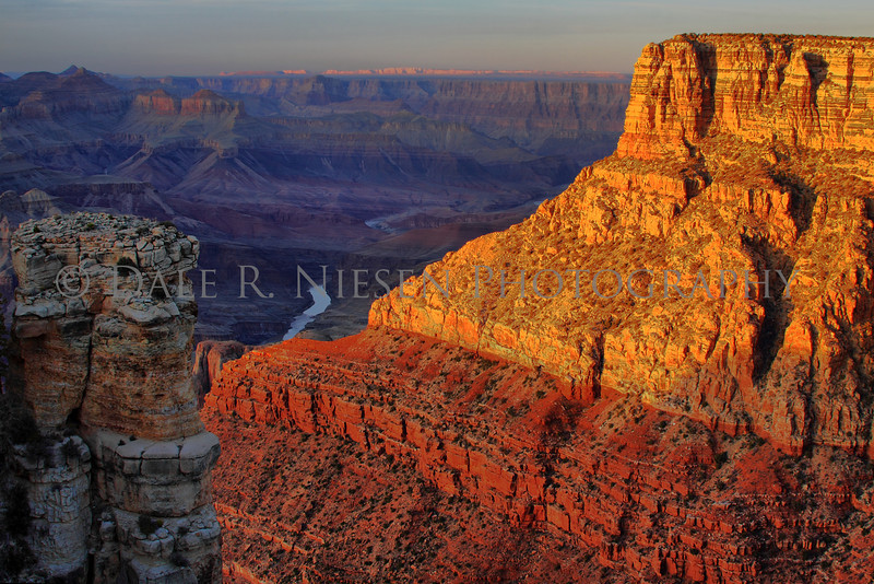 The reflection of sunset on the cliffs at Moran Point, Grand Canyon National Park, Arizona (HDR).