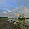 Rainbow for the second time this week at the mouth of the Huron River over Lake Erie at Pointe Mouillee State Game Area, Brownstown Township, Wayne County, Michigan.   Taken 7/30/2014 (See my Michigan Landscapes gallery for more rainbow photos)