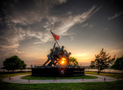 """Sunset on the Iwo Jima Monument In Fall River"" May 29th, 2013 at 7:29PM Fall River, Massachusetts"