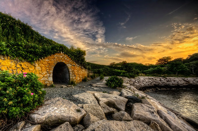 """Sunset at Gull Rock Tunnel"" Newport, RI Cliff Walk June 30th, 2012 7:43PM"