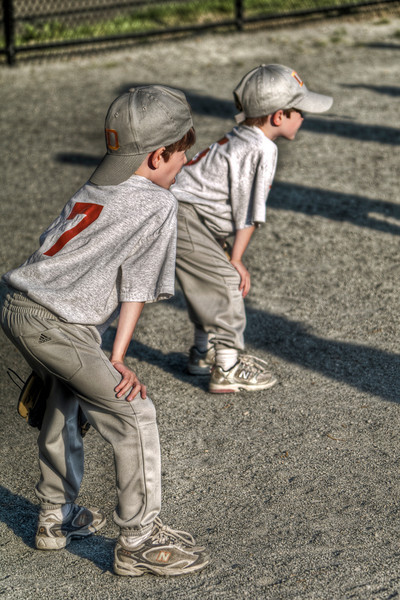 My Boys in their ready positions for T-Ball