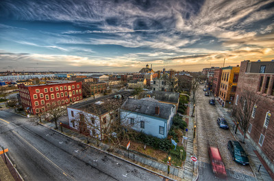 """The Sun Sets on New Bedford"" Overlooking Elm and N 2nd Street at 4:40PM December 30th, 2011"