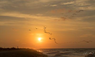 High Island, Tx - Sunrise on the Bridge and Beach