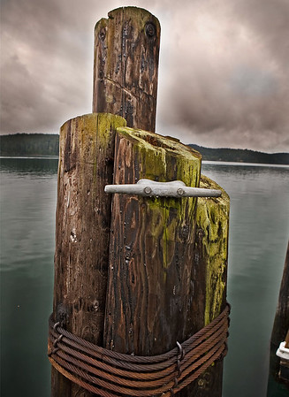 Ferry Dock Pileings on Orcas Island, WA North Cascade from near Everett, WA - Note File Name below for ordering