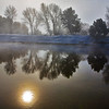 Sun Reflection in the Icy Payette River, Cascade, ID -Note File name for ordering