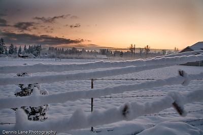 Snowey Clothes Line at Sunrise - Marysville, WA -North Cascade from near Everett, WA - Note File Name below for ordering