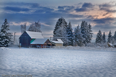 WInter Barn - near Marysville, WA -North Cascade from near Everett, WA - Note File Name below for ordering