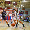 Groton-Dunstable's Hanna Van Pelt defends North Middlesex's Hadley Beauregard. Nashoba Valley Voice/Ed Niser