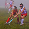 North Middlesex's Kelsey Vanvoorhis battles for control with Tyngsboro's Emma Lafferty. Nashoba Valley Voice/Ed Niser