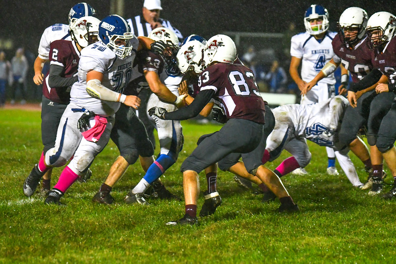 Lunenburg's George Khairalla is stood up by Ayer Shirley's Mick Mitrano and a host of Panther defenders. Nashoba Valley Voice/Ed Niser