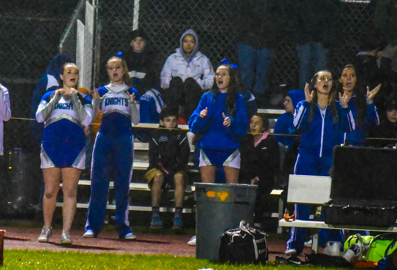 Lunenburg cheerleaders cheer on the Blue Knights in the second half of Friday's game. Nashoba Valley Voice/Ed Niser