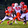 North MIddlesex running back Dan DiPano follows the block of  junior offensive lineman Josh Levasseur. Nashoba Valley Voice/Ed Niser